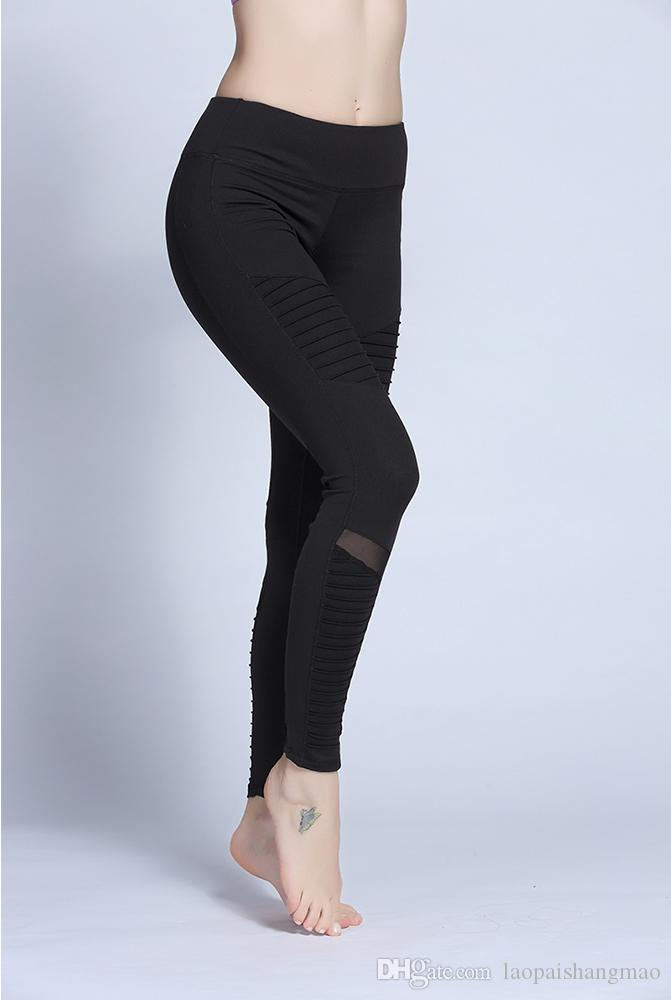 Yoga para mujeres, pantalones de seda de leche, alta elasticidad, transpirabilidad, absorción de humedad, secado rápido, ejercicio, fitness, pliegues, pantalones de yoga.