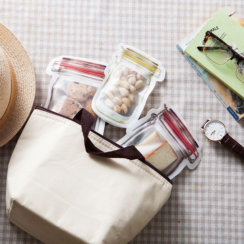 Mason Jar en forma de contenedor de alimentos Mason Jar en forma de bocadillos Cookie Contenedor de almacenamiento de alimentos Bolsa de dulces Bolsas herméticas