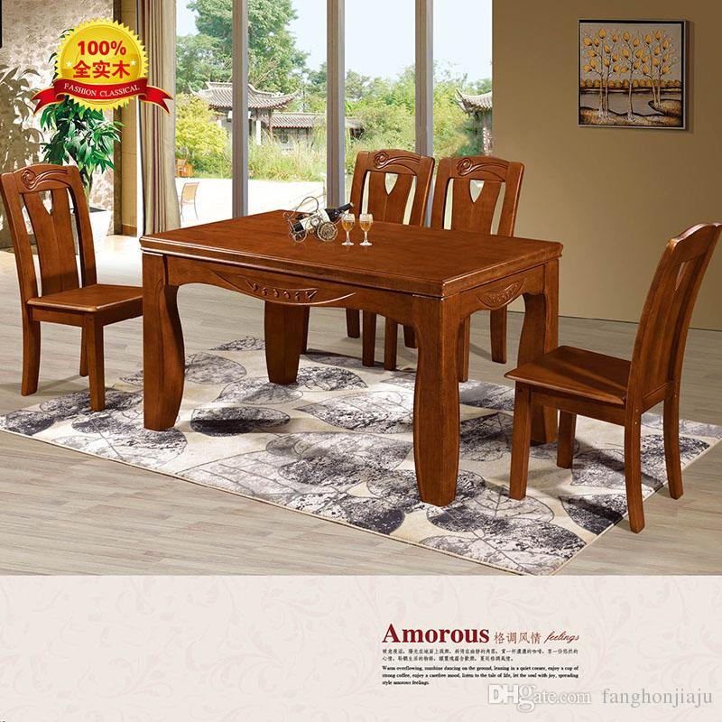 2019 100% Solid Wood Small Apartment Modern Chinese Solid Wood Dining Table  And Chair Combination Strip Oak Solid Wood Dining Table From Fanghonjiaju,  ...