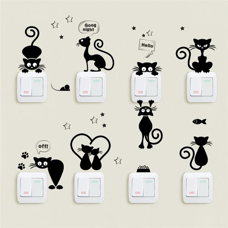 Adorável Luz Cat Mudar Telefone Adesivos de parede para quartos de crianças Diy Início Decoração Cartoon Animals Decalques PVC Mural Art
