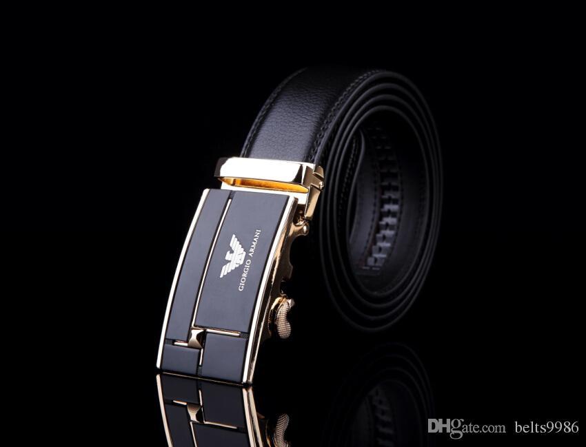 أفضل الرجال مصمم الجودة اسم العلامة التجارية للأزياء أحزمة الخصر الأعمال التلقائي مشبك حزام جلد طبيعي للرجال الشحن مجانا