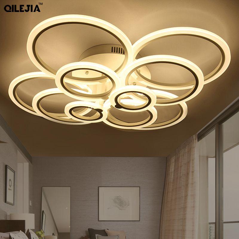 أضواء السقف LED الحديثة لغرفة المعيشة نوم أبيض بسيط فلوش جبل أدى مصباح السقف إضاءة المنزل تركيبات AC85-265V