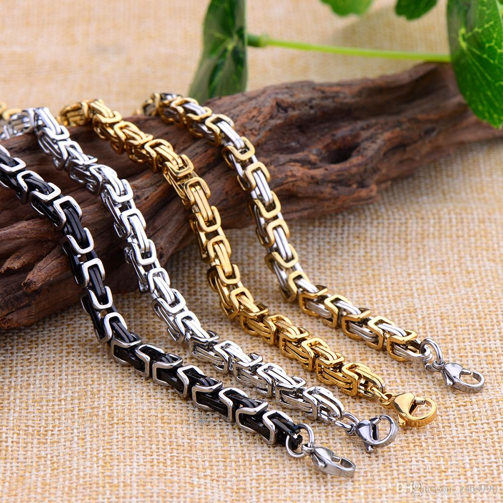 Wholesale 5MM 316L Titanium Steel Gold Black Color Imperial Chain Bracelet Fashion Cool Men's Jewelry Christmas Brothers Father Gift