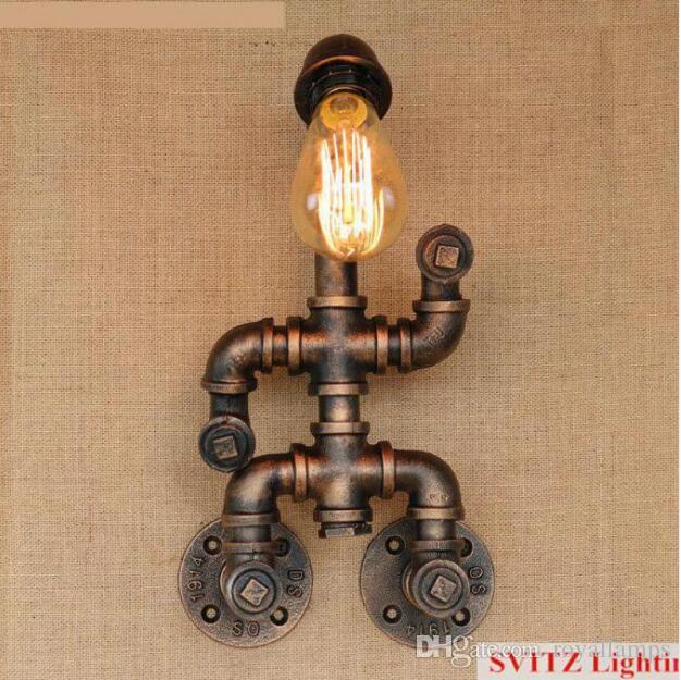 SVITZ Bar robot lamp Retro pipe wall lamp American Industrial Style Living Room Bed Bedroom Wall Llight attic villa iron wall sconce