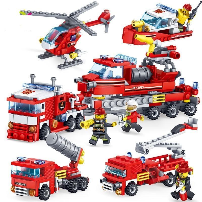 348 قطع النار القتال سيارة هليكوبتر قارب اللبنات متوافقة legoed مدينة رجال الاطفاء أرقام 4in1 شاحنات الأطفال اللعب