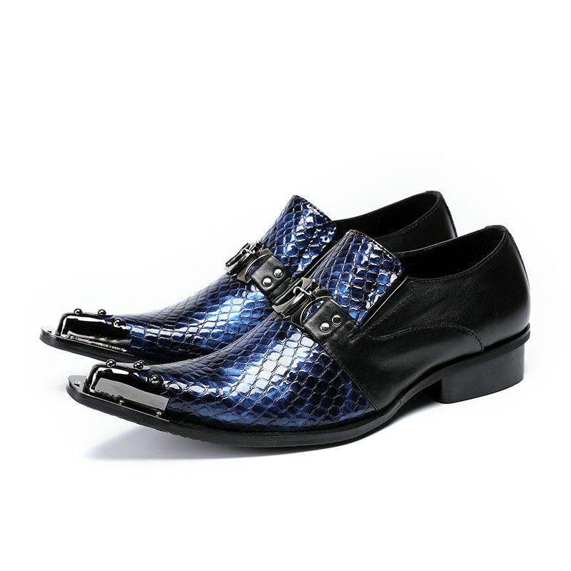 Лоскутное Синий Санке Pattern Кожа Мужчины Платье Обувь Острым Носом Металла Скольжения На Обувь Одна Пряжка Мужской Бизнес Обувь Свадьба