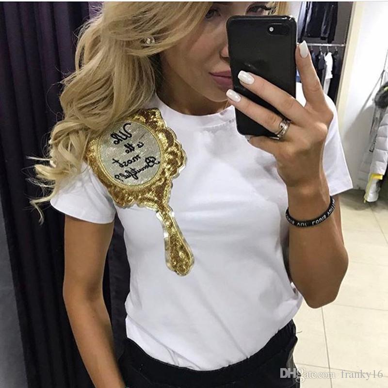 Black White Tops Tees Das Mulheres Lantejoulas Espelho Mágico Impressão de Manga Curta T Camisa Ocasional Europeu Americano Camisa de Algodão Fino Roupas