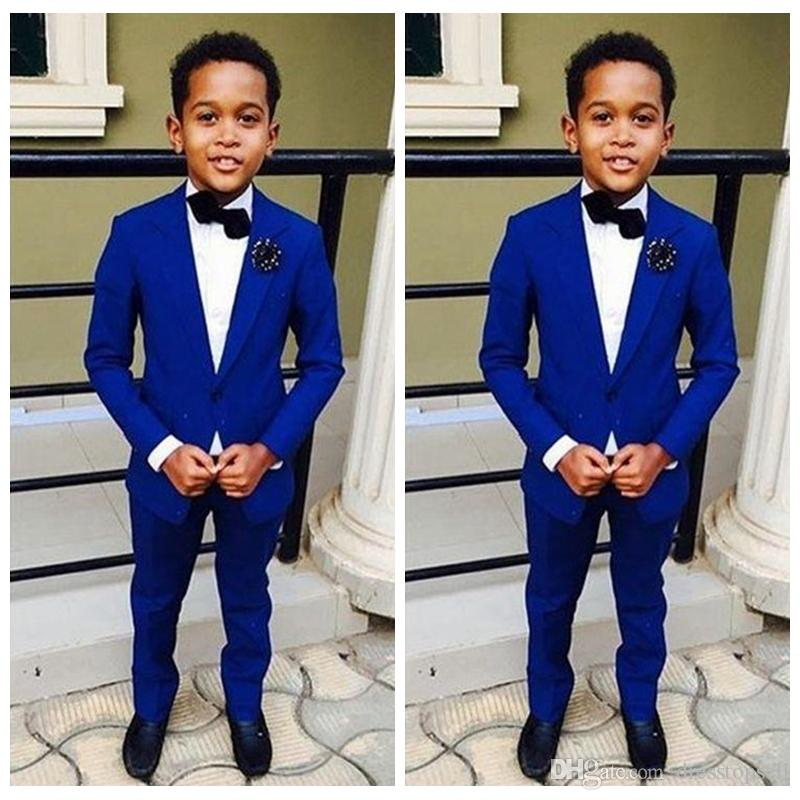 2019 Best Sale Handsome Jacket Pants 2 Pieces Set Royal Blue Boys Suits for Wedding Dinner Formal Suits for Children Kids Tuxedos