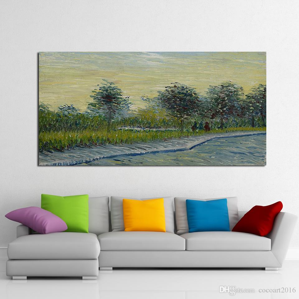 1 Panel Lane in Voyer d'Argenson Park at Asnieres by Van Gogh Canvas Print Pictures Wall Art Framework PaintingPoster Modular