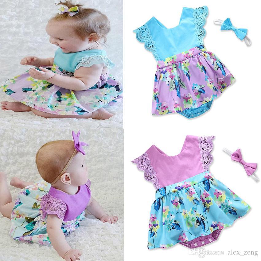 Newborn Baby Girl Ruffle Flower Romper Bodysuit Jumpsuit Headband Clothes Outfit