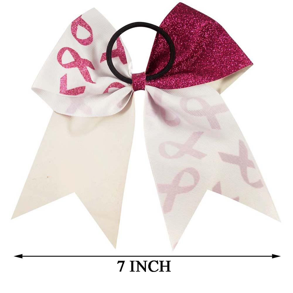 Headwear 7 Glitter Breast Cancer Cheer Bows With Elastic Band For Girls Kids Handmade Large Printed Ribbon Hair Bows Hair Accessories