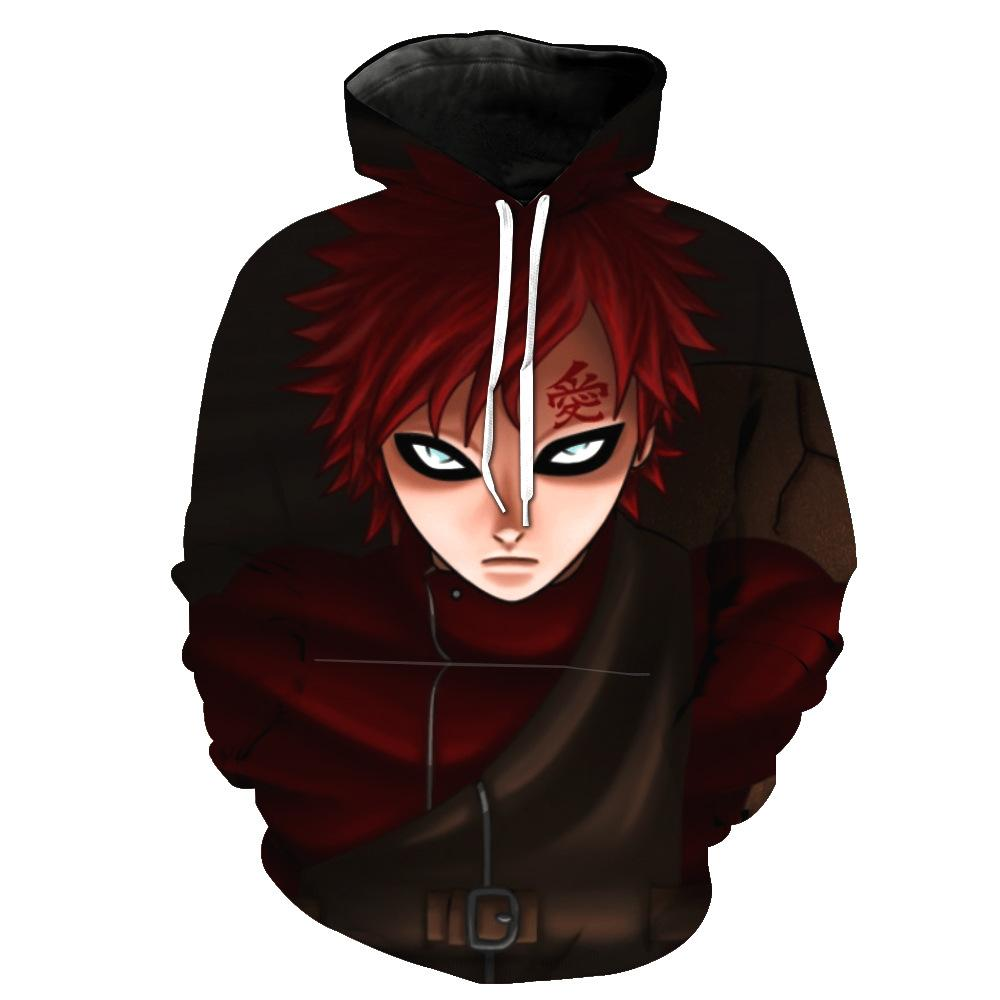 Male/Female Christmas Costume Cartoon Anime Naruto Gaara 3D Cosplay Print Hoodie Long Sleeve Pullover Sweater Sweatshirt Tops
