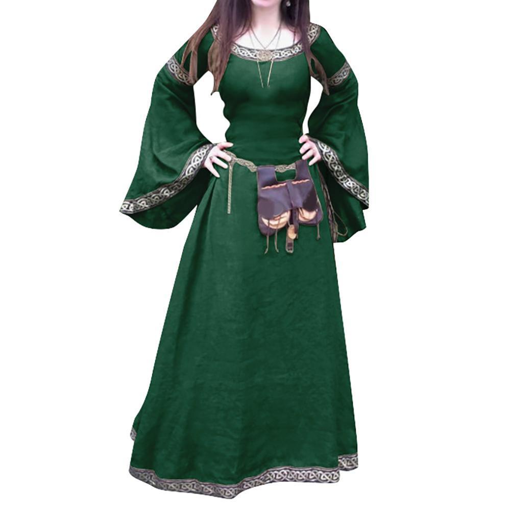 Retro Women Medieval Full Length Long Sleeve Round Neck Slim Party Cosplay Dress