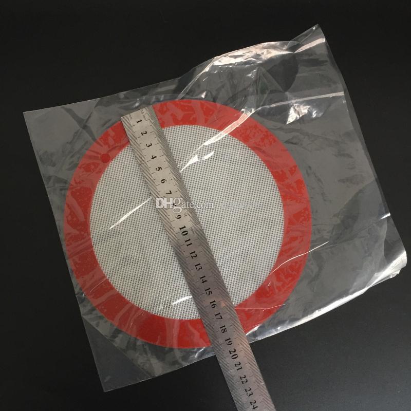 Tampon de cire de silicone avec un carré de 29,5 cm * 21 cm de diamètre extérieur: feuilles rondes de 19 cm Tampons de silicone tapis Outils de cuisine pour pots de fines herbes sèches vapeur de cire DAB