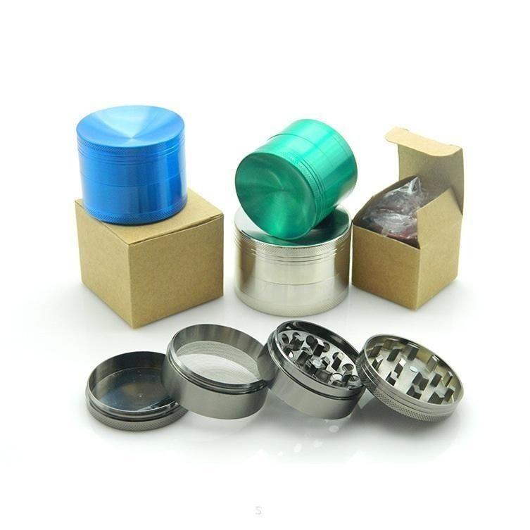 Molino de pulido cóncavo de aleación de zinc 4 partes Pulidor duro superior Molinillos Diámetro 40mm / 50mm / 55mm / 63mm 6 colores molino de tabaco b587