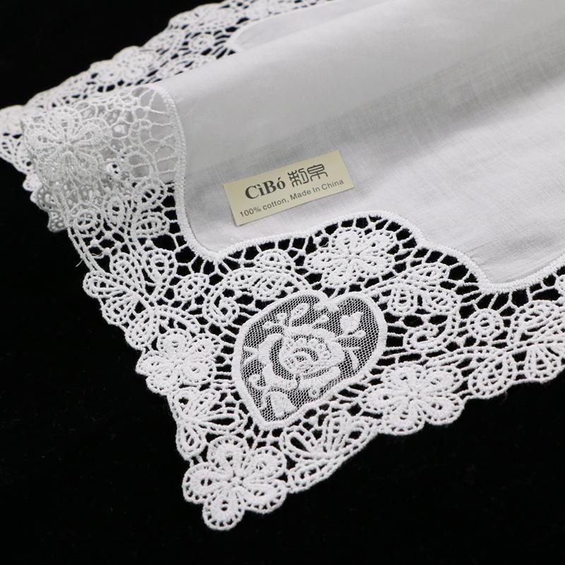 D608: Белый премиум хлопок кружева платки 12 шт/УП пустым крючком Платки для женщин/Леди свадебный подарок