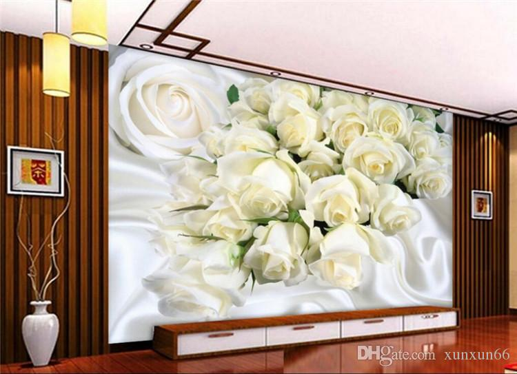 Custom large fresco 3D wall paper white silk roses photo wallpaper 3D room bedroom background wall murals wallpaper