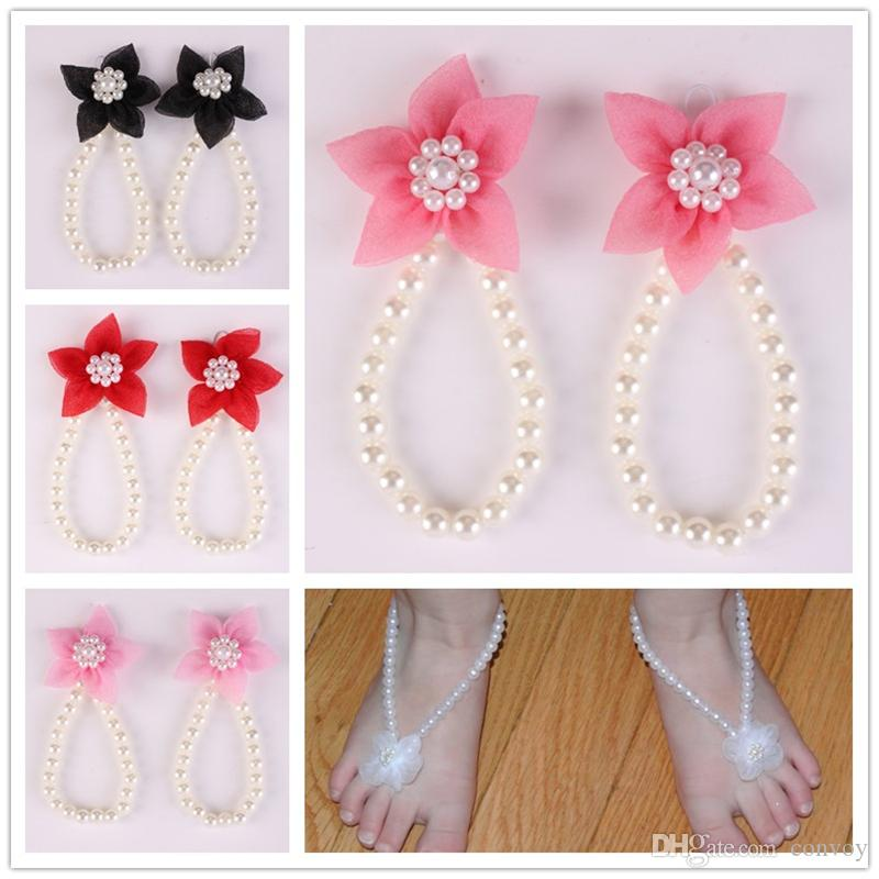 New Arrival kids Flower Sandals baby Barefoot Sandals Chiffon flower shoes Newborn Baby Girls Foot Band Toe Rings Foot ornament KFA40