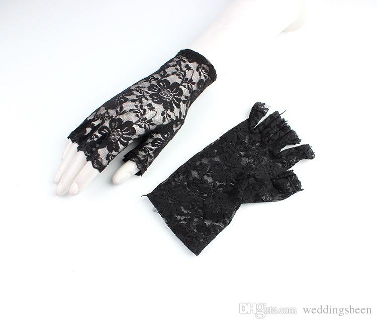 Thin short half finger gloves bud silk screen yarn half cut fingerless sunscreen elastic sexy hollow bride gloves