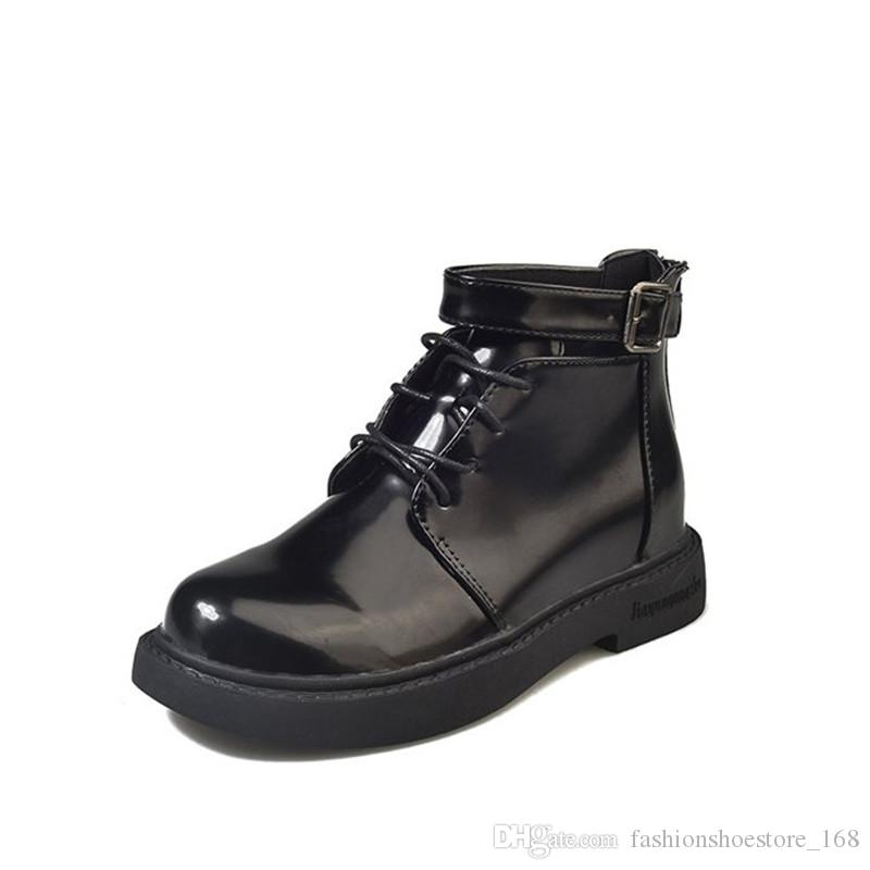 Sweet Female ankle boots for women Patent leather boots Europe Fashion metal buckle chunky heel shoes Brand classic Short boots