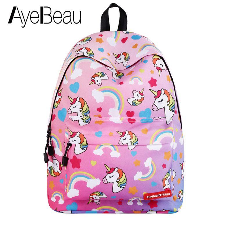 Cute Portfolio School Bag Niños Mochila de Anime Con Unicornio Mujeres Mujeres Para Niñas Adolescentes Mochila Mochila Mochila Back Mochila Y18110107