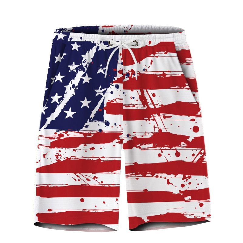 Mode masculine Etoiles et rayures imprimées Casual Shorts Hommes Pantalons courts à séchage rapide Jogger Shorts d'entraînement Mens Summer Beach
