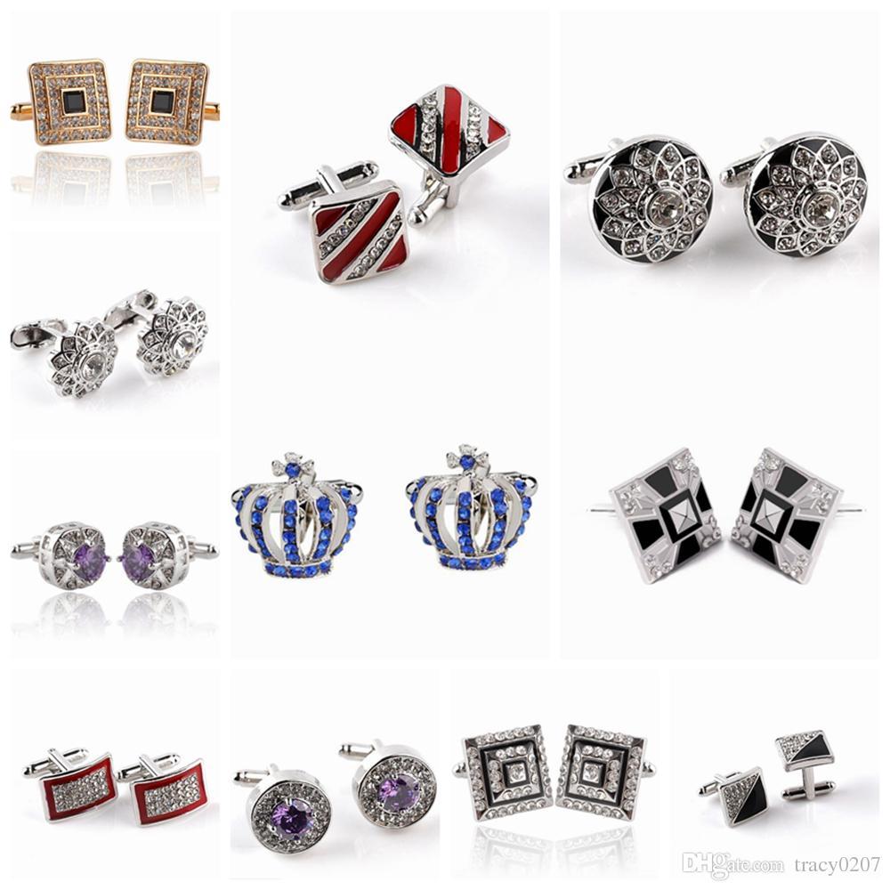 Mode Femmes Hommes Bijoux Boutons de Manchette Pour Hommes Chemise Diamant Cristal Accessoire Mode Métal Diamant Boutons de Manchette
