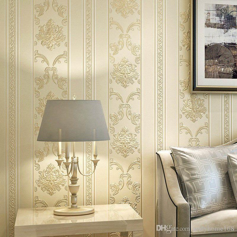 Modern Luxury Homes Decor European Striped Damask Wallpaper For Walls Bedroom Living room Embossed Grey Beige Wall paper Rolls
