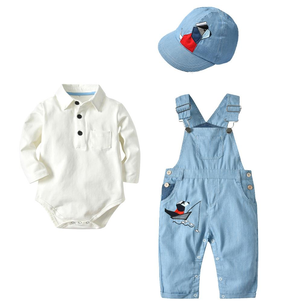 Bebe Boys Long Sleeve Rompers Susppenders Pants With Hat Set Children Spring Autumn 100% Cotton 3pcs Sets Clothing