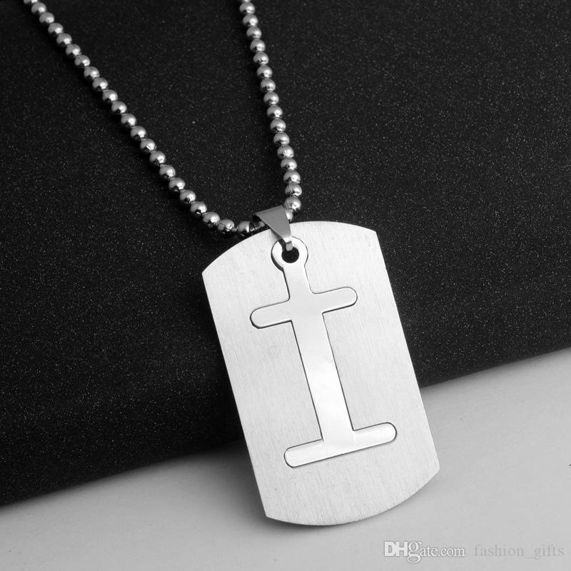 1i destacável aço inoxidável 26 inglês alfabeto eu charme colar letra inicial símbolo duplo camada texto sorte presentes homens, família, crianças jóias