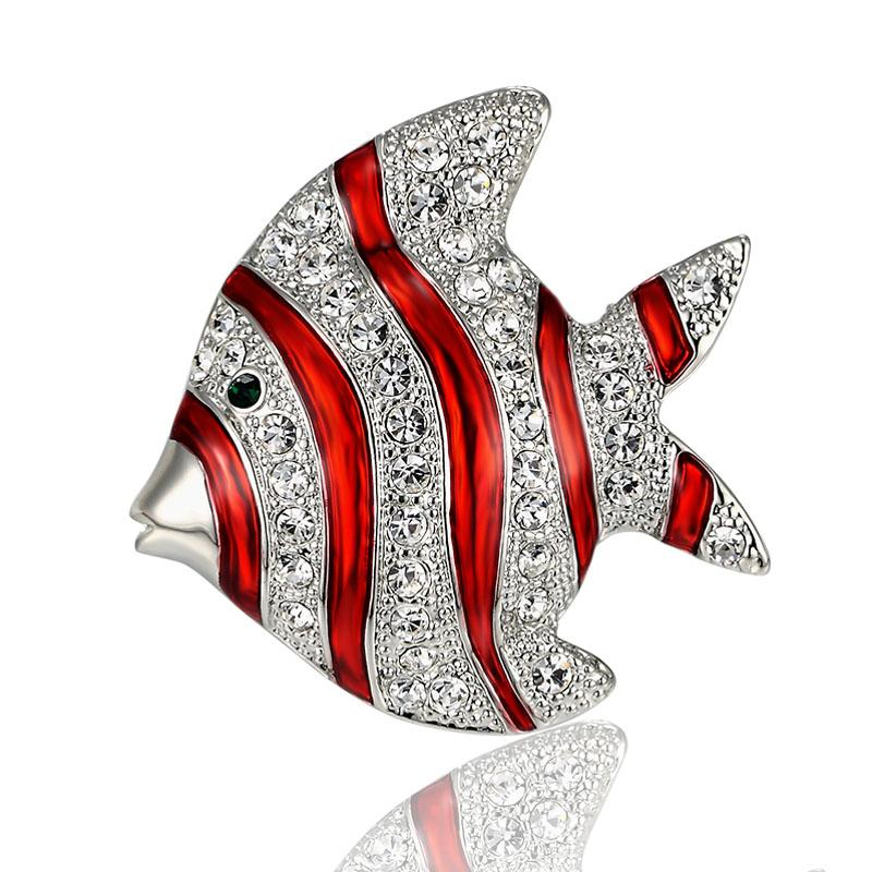 Blucome Cute fish Brooch Perfect Rhinestone Crystal Pin Brooches For Women Christmas Hijab Accessories Women's Broches Pins