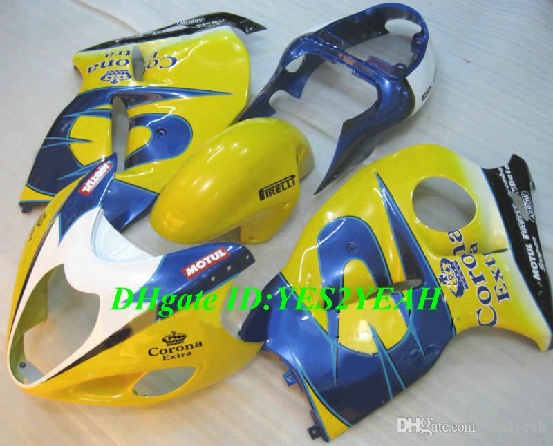 Литьевая форма обтекатель комплект для SUZUKI Hayabusa GSXR1300 96 99 00 07 GSXR 1300 1996 2007 ABS желтый синий обтекатели набор+подарки SG14
