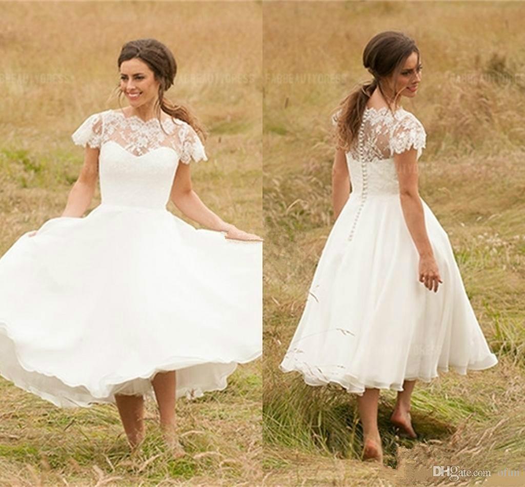 Discount Vintage Lace Applique Chiffon Wedding Dresses Short