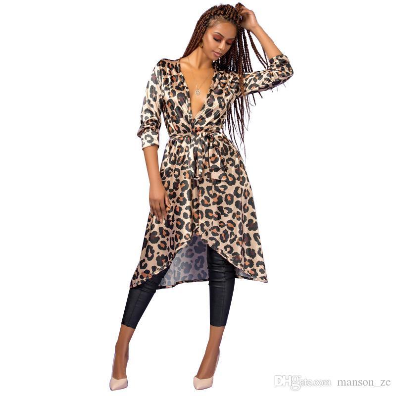 Léopard v cou à manches longues femmes robe dames asymétriques mince long manteau 2018 écharpes garniture Surplice wrap automne robe soirée sortir robe sexy