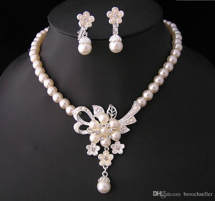 Casamento Banhado A Prata / Nupcial pérola e brincos colar de cristal conjunto de Jóias