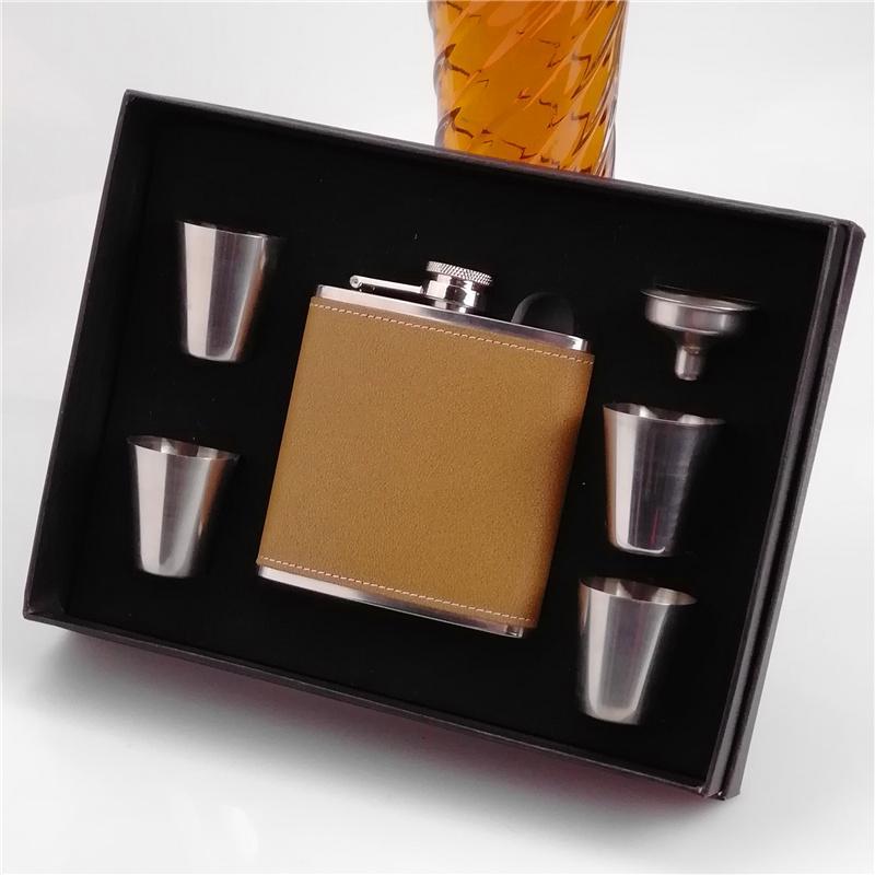 50set кожа из нержавеющей стали 6 унций фляга, фляга с 4 чашки и воронка подарочная коробка, фляга с воронкой подарочная коробка