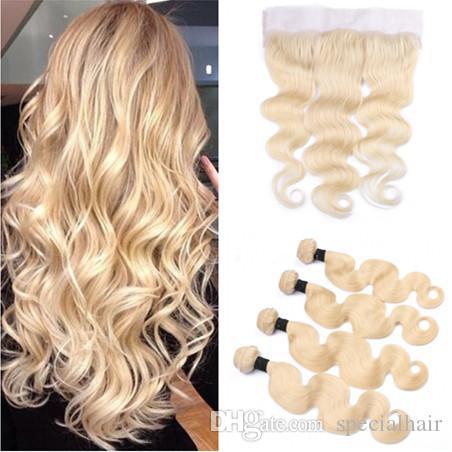 Девственница бразильская блондинка человеческие волосы ткет с фронтальной закрытия тела волна чистый 613 блондинка 13x4 полный фронтальный кружева с 4bundles утки волос