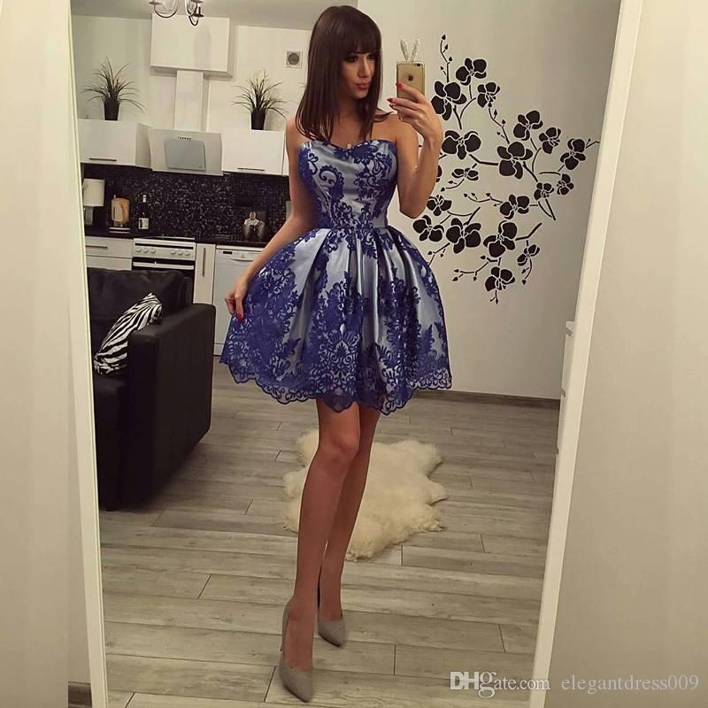Discount Sexy 2018 Royal Blue Applique Short Homecoming Dresses Mini Strapless Satin Pleats Ruffles Cocktail Party Gowns Prom Dresses