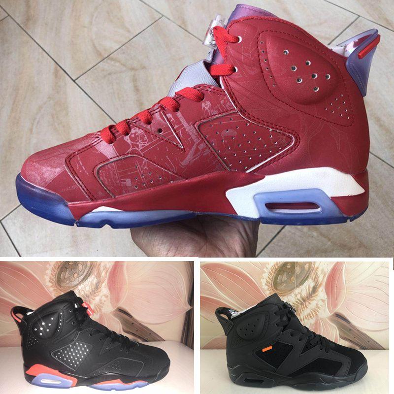 Chaussures de basketball pour hommes Infareed Hommes Noir Red 6 lièvres Sneakers Sports de plein air Tennis Chaussures de tennis avec boîte taille 41-47