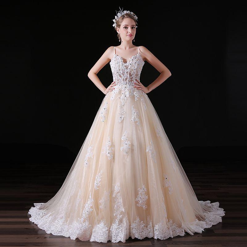 MAGGIEISAMAZING Venta al por mayor de espagueti espalda con cremallera encaje vestido expuesto deshuesado Una línea de vestidos de novia con tren de barrido CYH0000A032