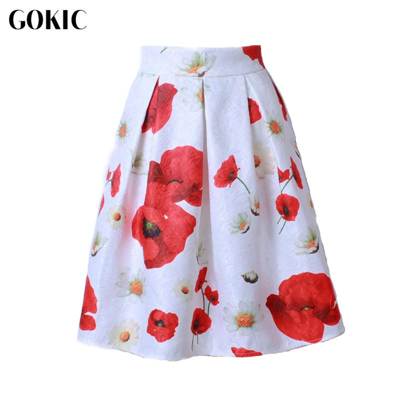 Оптовая торговля-GOKIC 2017 новый Одри Хепберн стиль Женская юбка пачка высокой талией 3D резьба цветочные плиссированные миди юбки старинные бальное платье