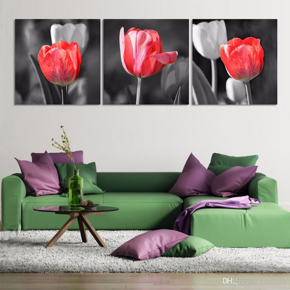 3 Pcs Red And Gray Tulip Flowers Picture HD Printed Canvas Prints Painting Wall Pictures For Living Room Wall Art No Frame