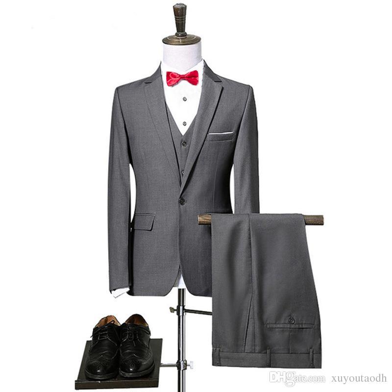2018 Classic Style Men Suits Grey Groomsmen Suit One Button Slim Fit Groom Tuxedos Bridegroom For Man Business 3 Pieces (Jacket+Pants+Vest)