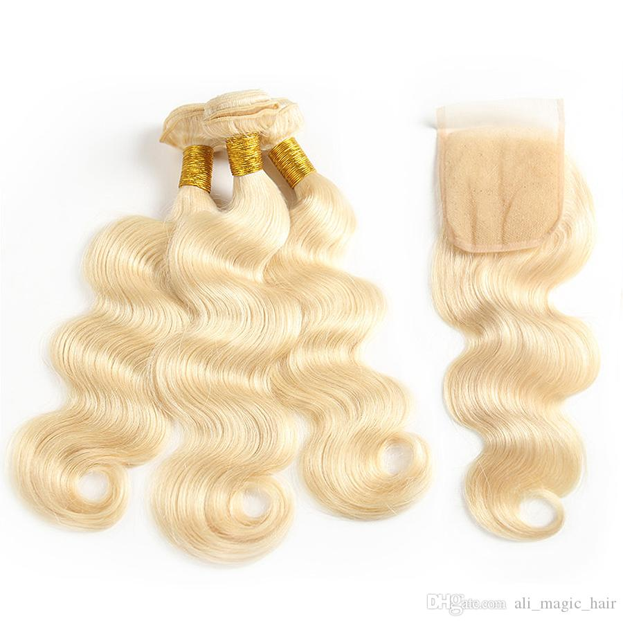Human Hair Weaves With Closure Bundles 613 Bleach Blonde 22 Inch Hair Extensions 3bundles/lot 4*4 Lace Closure Straight Body Wave Wholesale