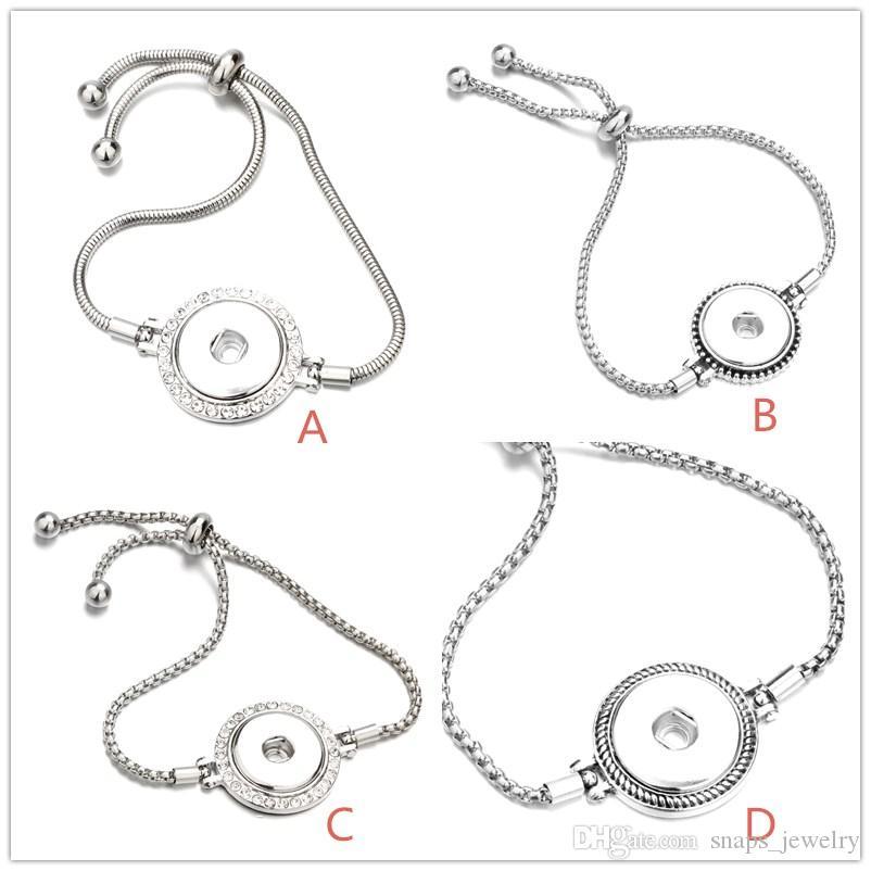 4 Stili in argento 18mm con bottone a pressione Bracciale con maglie a catena per donne con bottoni automatici con bottone a pressione