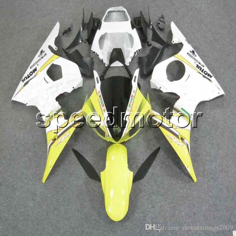 Parafusos personalizados + artigo amarelo branco YZFR6 03-05 YZF-R6 2003 2004 2005 Motocicleta ABS para Yamaha