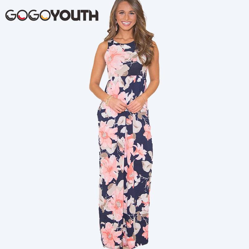cf4e72fe2c6 2019 Gogoyouth Floor Length Summer Dress For Women 2018 New Vintage Maxi  Tunic Beach Sundress Long Boho Party Dress Blue Robe Femme From Candd