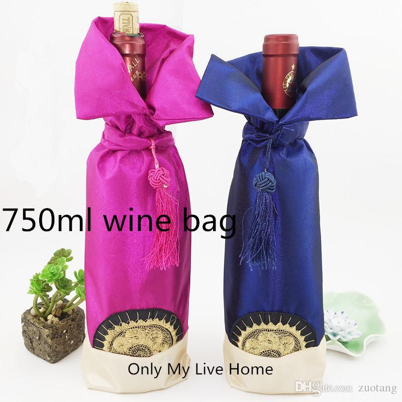 Unik kinesisk knut bröllopspåsar för vinflaskor Skyddskåpa Fit 750ml Satin Fabric Bottle Decor Bag Förpackning påse 10st