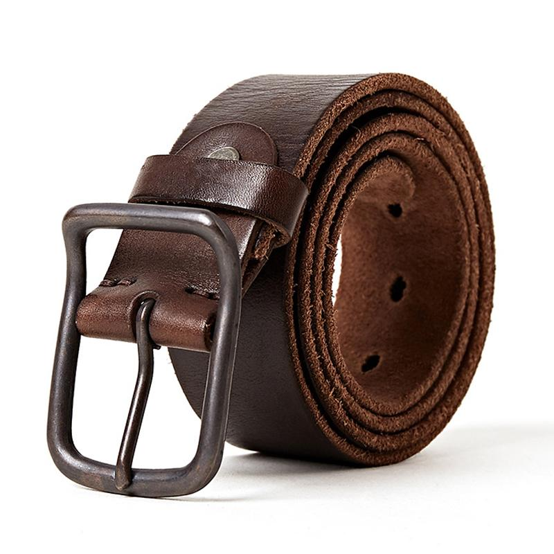 xGenuine Full Grain Leather Belt smooth Vintage Natural Casual Belt Jeans Trouse