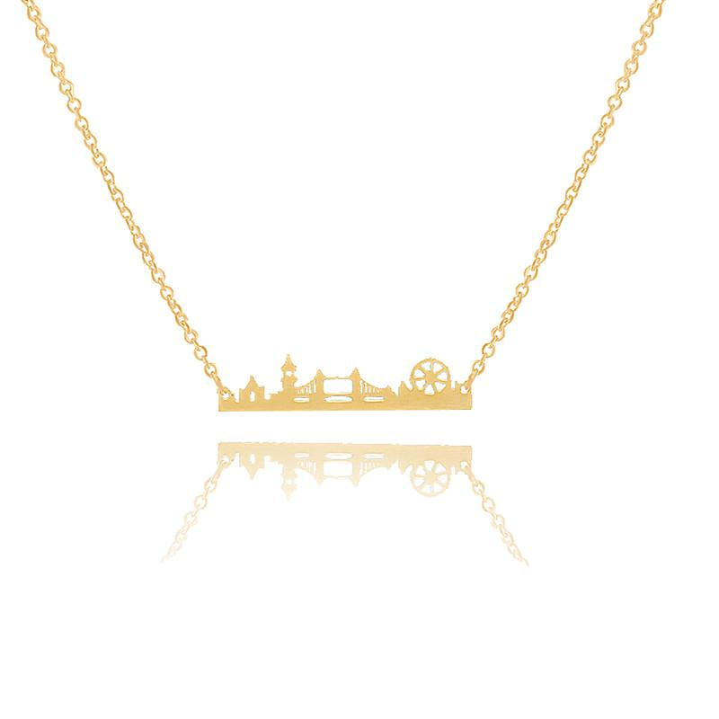 10pcs/lot Charm Cityscape Vintage London Skyline Necklace Stainless Steel Landscape Pendant Modern Jewelry Minimalist Collares
